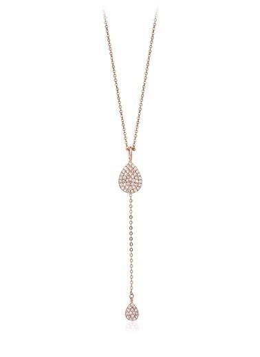 0,70 Ct Pırlanta Efekt Altın Tears İn Love Roz Kolye -Tophills Diamond Co.